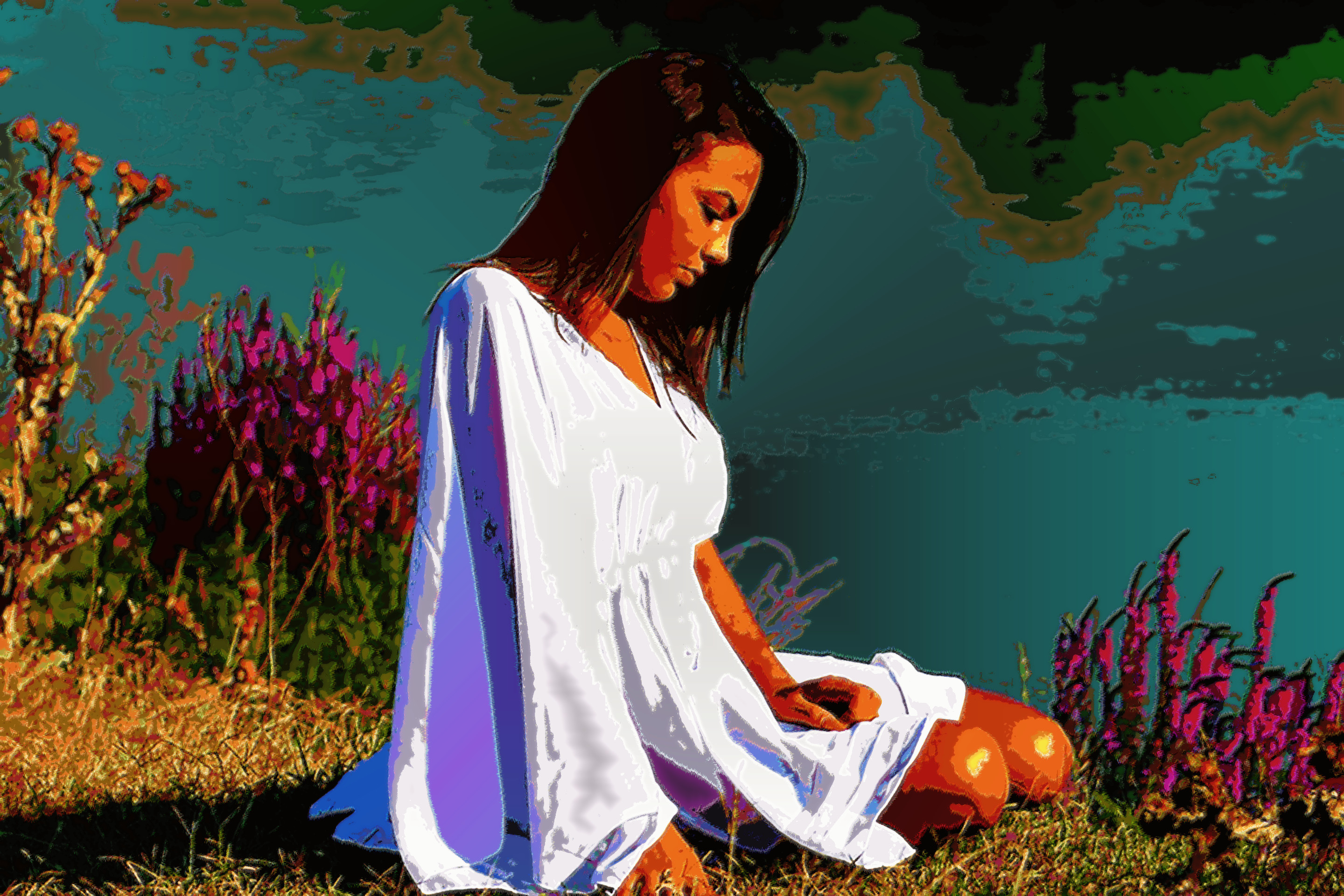 girl-1545749_960_720, white balanced, RGB stretched, darkened, Texturized (colours=32; texture=svg).jpg